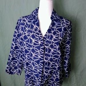 Ladies button down blouse size XL Navy
